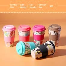 400ml Portable Practical Reusable Bamboo Fiber Silicone Cap Coffee Cups Eco Friendly Non-slip Printing Travel Mugs Useful