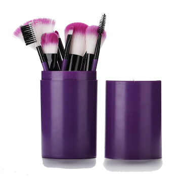 12 pieces purple makeup brush with plastic barrel