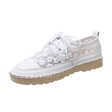New White Shoes Lace Embroidery patch Flat Female