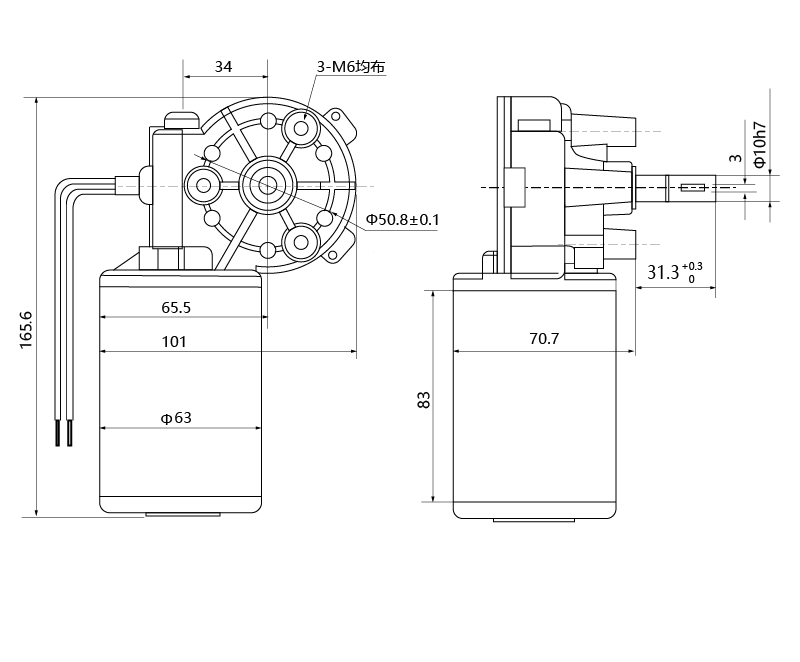 Drawing of ZD63R-2445-180 DC Gear Motor - MAINTEX