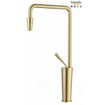 7-shaped brushed gold kitchen mixer faucet