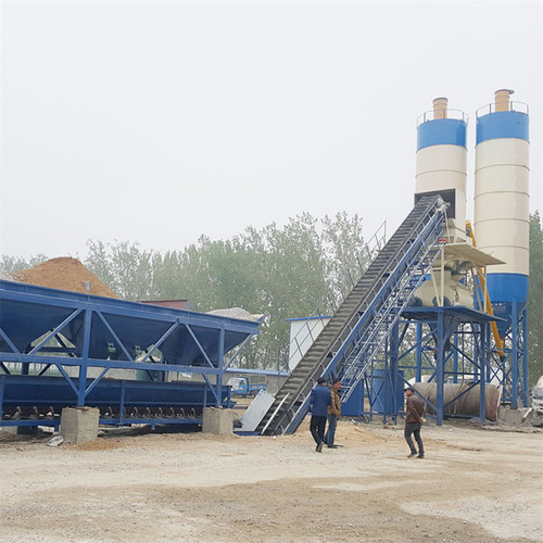 Compact small skip type concrete batching plant