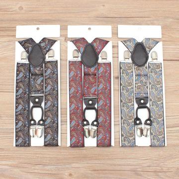 Fashion Unisex 4 Clip Real Leather Elasticity Suspenders Cashew Nuts Scottish Lattice Camouflage Stripe Polyester Men Women Gift