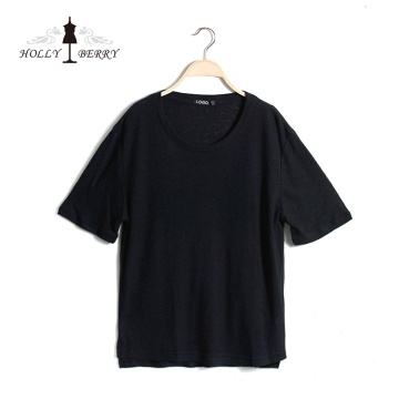 New Fashionable Plus Size Stylish Black Casual Short Sleeve Womens Shirt