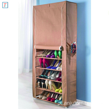 9 Tier Shoe Rack with Cover Simple Stackable Dustproof Metal Shoe Cabinet