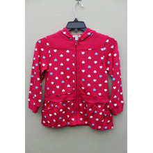 100% cotton knitted all print GIRL`S JACKET