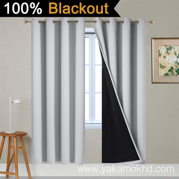 Light Grey 100% Blackout Curtains 72 Inch Long