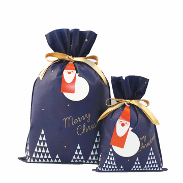 Navy Christmas Gift Bag Custom Logo Shopping Bags