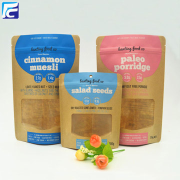 Ziplock kraft paper bags with window for seed
