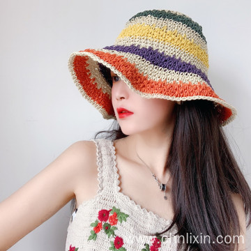 Premium multicolor splicing paper straw hat