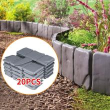 20pcs Grey Stone Effect Lawn Grass Edging Garden Plant Flower Bed Border 22*24cm