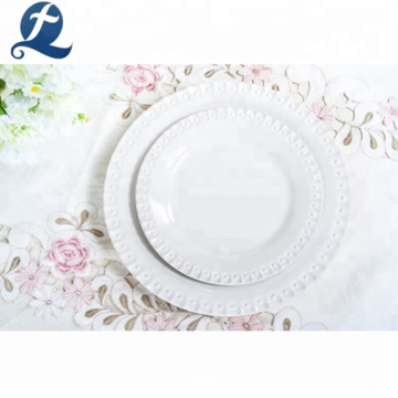 Custom Hotel Crockery Stoneware Tableware White Ceramic Dinnerware Set