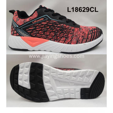 Lady double color flyknit shoes