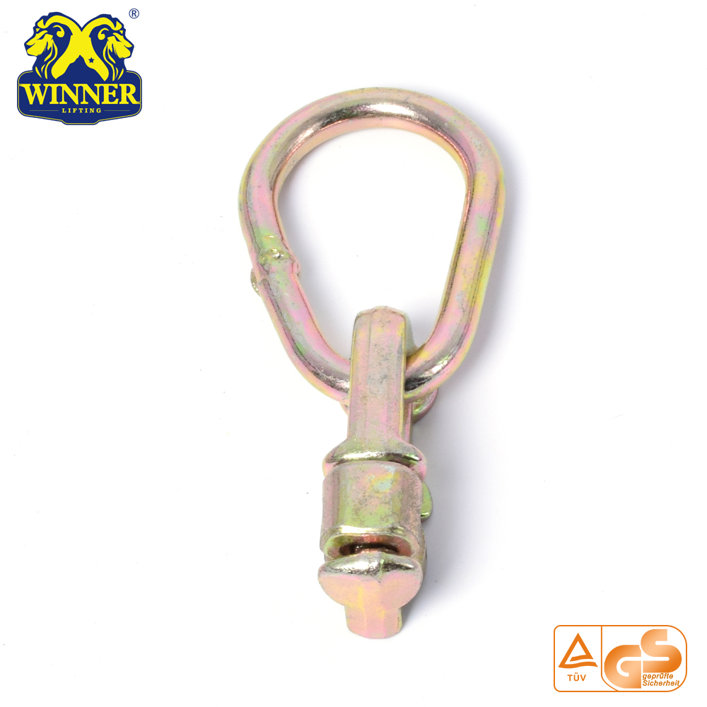 Yellow Zinc Plated L Track Double Stud Fitting With Oval Ring