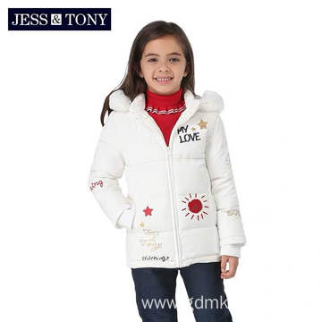 Children's White Thick Hooded Down Jacket