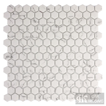 Glass Mosaic Hexagon Tile Marble Look