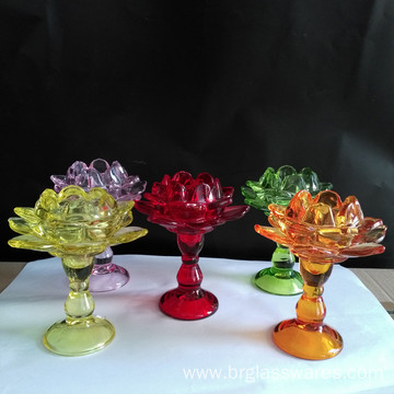 Glass Pillar Lotus Candle Holder