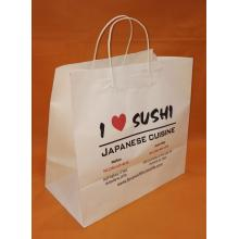 white kraft paper bag twisted handle-sushi