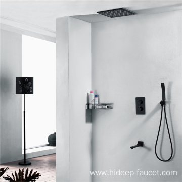 Pure Brass Black Three Function Thermostatic Shower Faucet