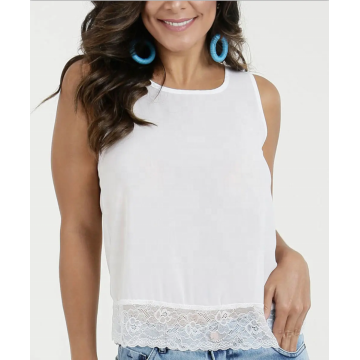 summer solid color with lace ruffles strap tops