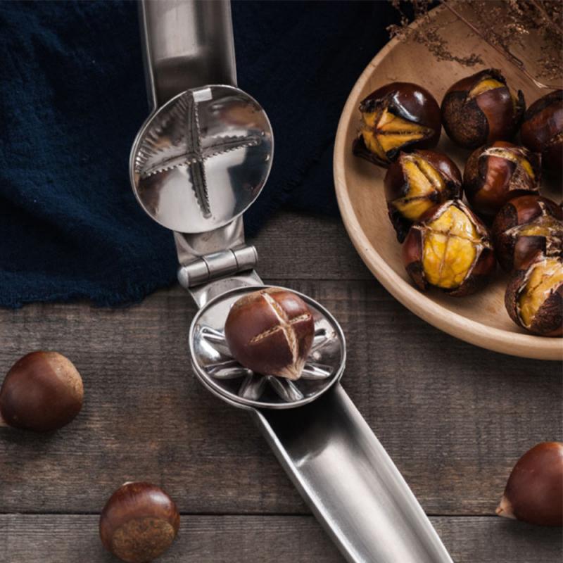 Nut Opener Cutter Gadgets 2 in 1 Quick Chestnut Clip Walnut Pliers Metal Nutcracker Sheller Kitchen Tools Stainless Steel 17.5cm