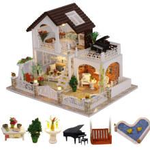 doll house big holiday villa diy wooden doll houses kitchen baby doll miniature kit dollhouse 1:12 accessories juguetes para ni