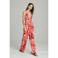 red floral printed womans ladies jumpsuit for summer
