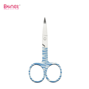 Eyebrow Eyelash Shaping Printing Handle Wide Curved Scissors