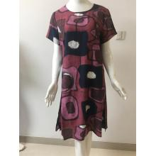 Printed Cotton/Nylon Short Sleeve Dress