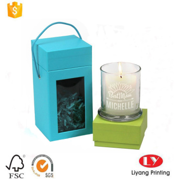 candle packaging cardboard box with handle