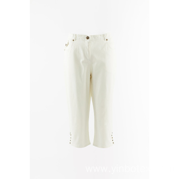 Cotton woven cropped trousers
