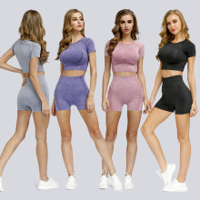 LANTECH Women Sports Suits Set Yoga Sets Gym Fitness Athletic Shorts Sportswear Lifting Shirt Squat Sports Activewear