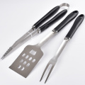 Black handle 3pcs stainless steel bbq tools set