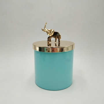 glass candle jar with metal lid