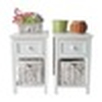Pair of Retro White Chic Nightstand End Side Bedside Table with Wicker Storage Wood