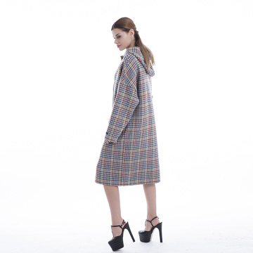 2019 colour checked cashmere overcoat