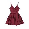 Women Fashion Burgundy Ruffles Strap Dress