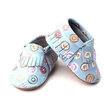 Factory Price Printing Baby Leather Moccasins