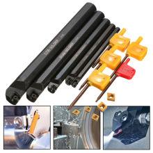 5Pcs 7/10/12/16/20mm SCLCR09 Lathe Boring Bar Turning Tool Holder Set+5Pcs CCMT060204 Inserts Blades Lathe Tools