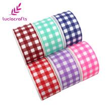 Lucia Crafts 3/6yards Plaid Printed Grosgrain Ribbons 25mm Trim Ribbon For DIY Headband Gift Decor S0801