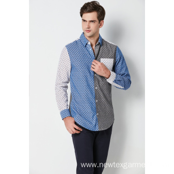 fashion cotton printed contrast long sleeve mens shirts