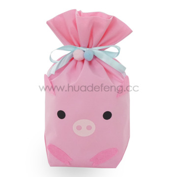 Pink Pig Non-Woven Drawstring Gift Packing Wrapping Bag