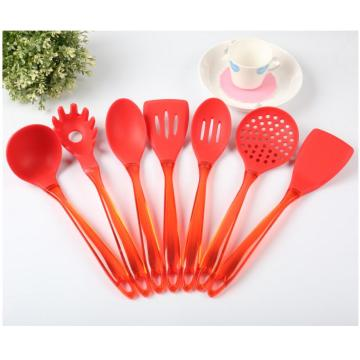 Set of Silicone Utensils Red Slotted Turner Spoon