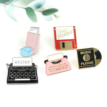 Personality Office Tools Brooch Shiny USB Memory Network Disk Music Record Fax Machine Printer Enamel Pin Coat Cap Badge Gifts