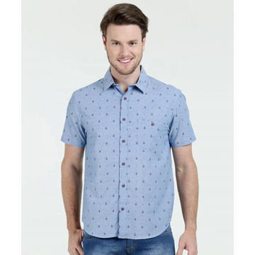 Casual slim fit short sleeve Stand-up collar shirts