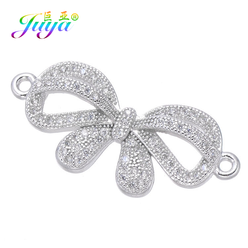 Juya DIY Bracelet Components Supplies Micro Pave Zircon Bowknot Connectors Accessories For Fashion Needlework Jewelry Making