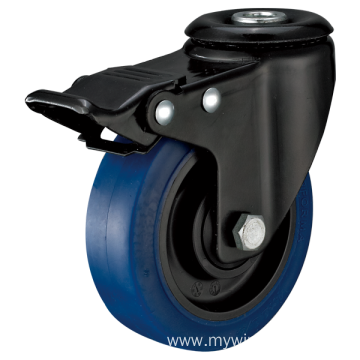 3inch Hollow Rivel Swivel Electrophoresis Black Blue TPR Casters With Top Brake