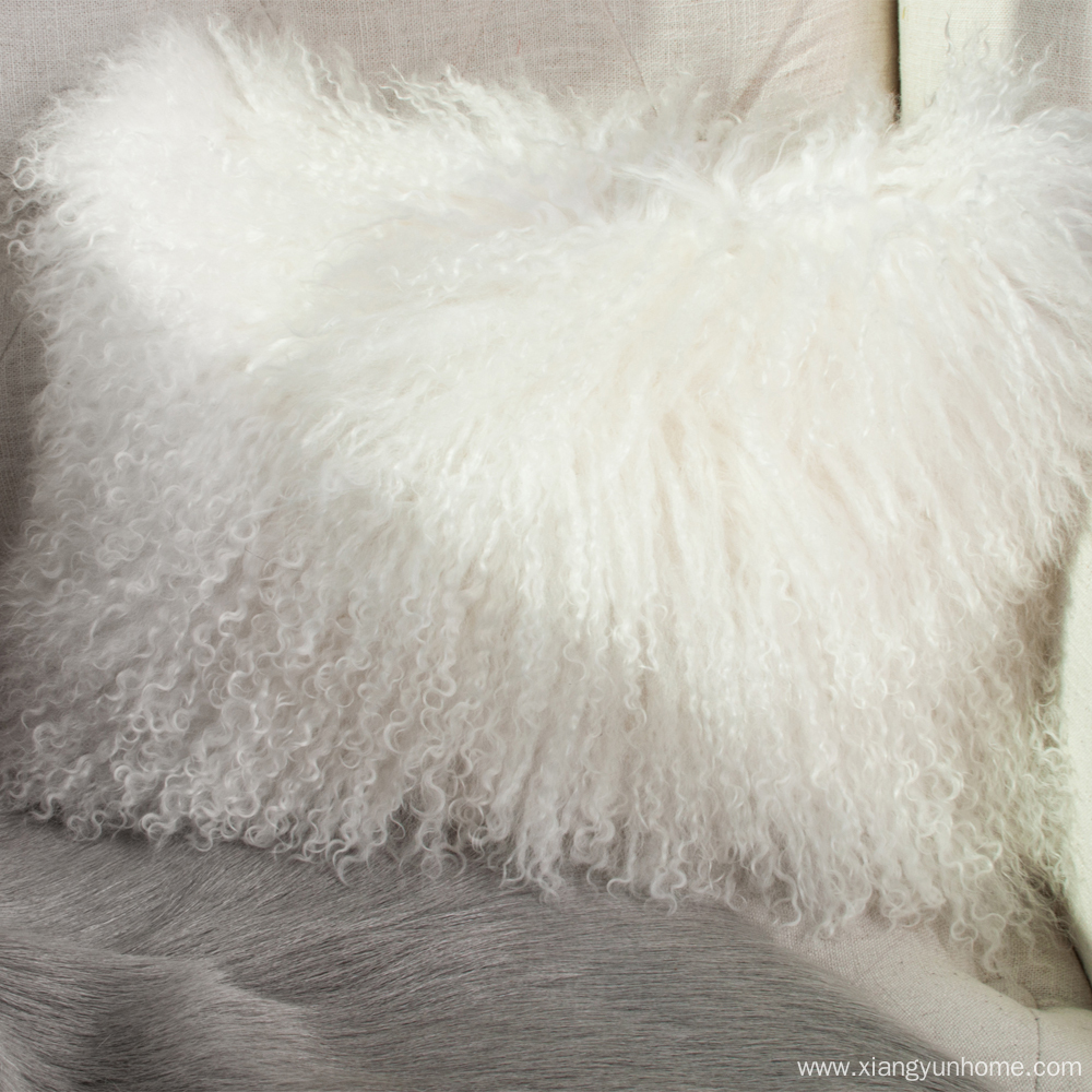 Snow White Lamb Fur Pillow Double Sided Fur
