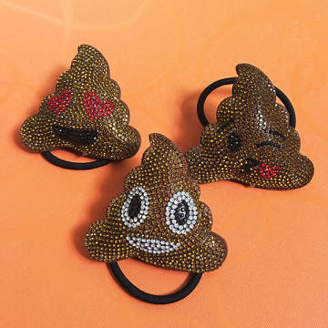 Brown Leather Rhinestone POOP Love Kiss Smile Hair Ornaments