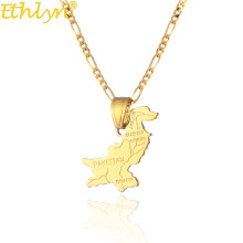 Ethlyn Pakistan Map Pendant Necklaces Gold Color Pakistani Country Ethnic Map Jewelry Gifts for Unisex P137
